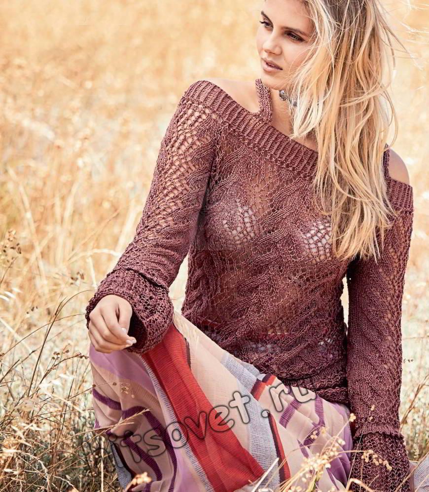 Ажурный пуловер на бретелях схема и описание