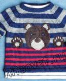 Детский вязаный пуловер с мишкой