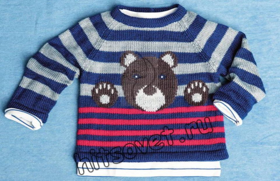 Детский вязаный пуловер с мишкой? ajnj/