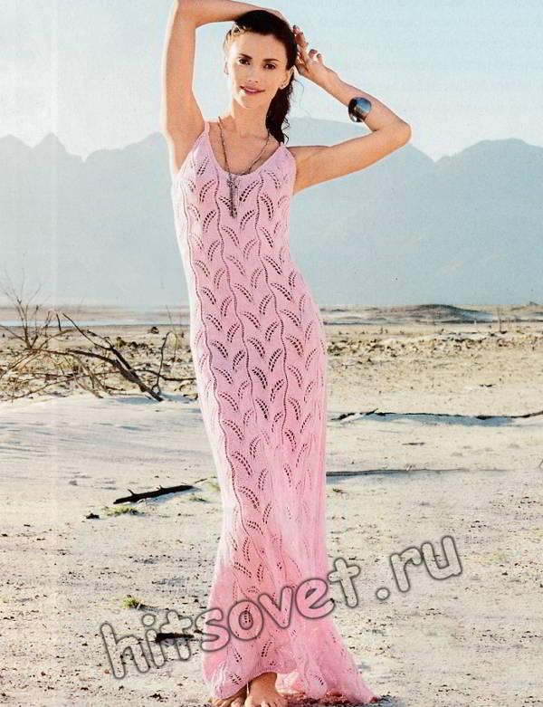 Длинное розовое платье, фото.