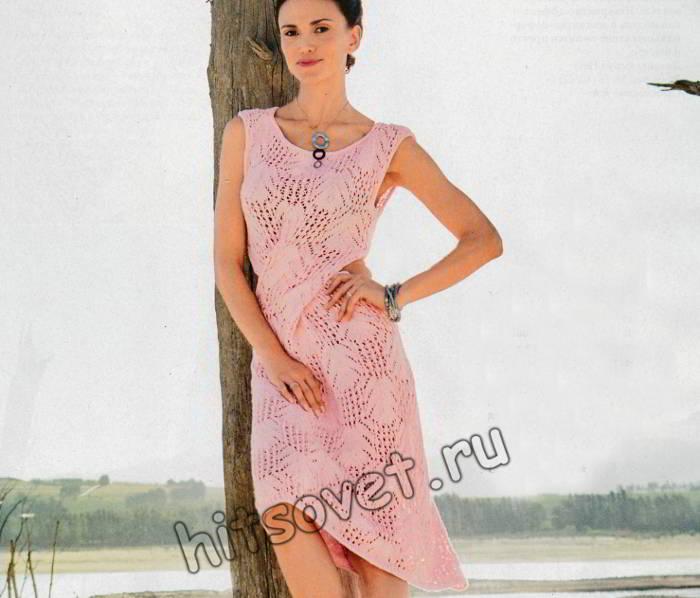 Красивое розовое платье спицами, фото.