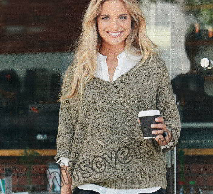 Объемный пуловер плетеным узором, фото.