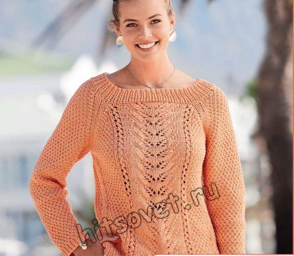 Пуловер реглан с удлиненной спинкой и центральным узором, фото.