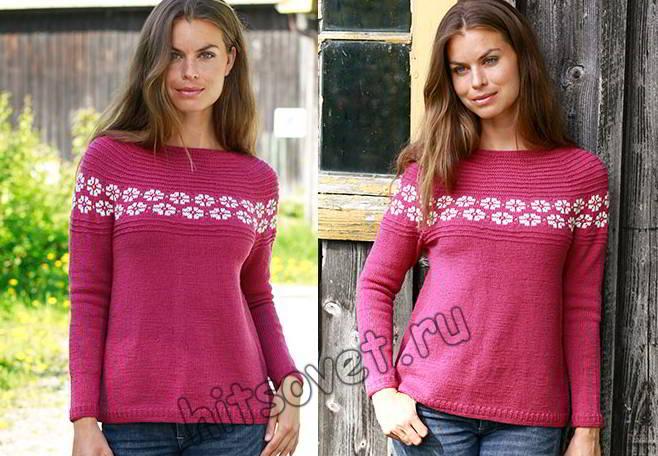 Пуловер реглан вкруговую сверху вниз спицами, фото.