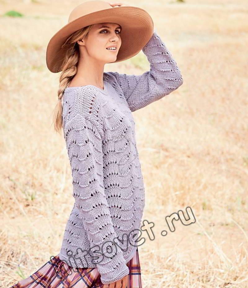 Пуловер с узором павлин, фото.