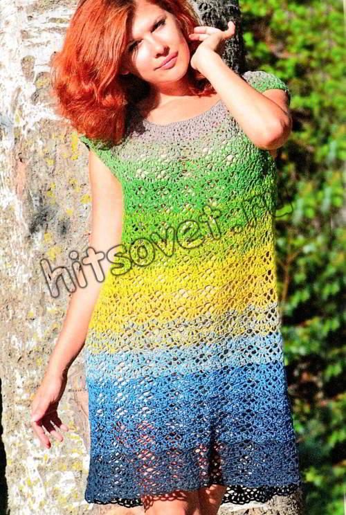 Свободное летнее платье крючком, фото.