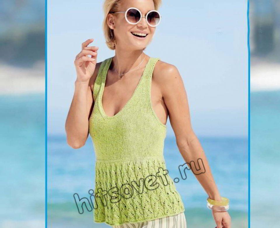 Вязаная модная майка на лето, фото.