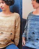 Вязание спицами свободного пуловера с дырками