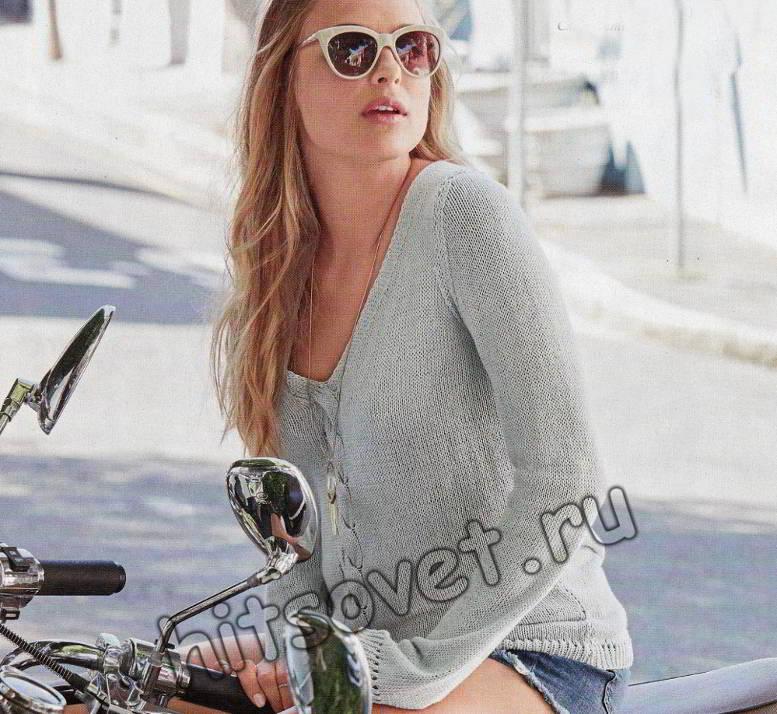 Летний пуловер с косой по середине, фото.