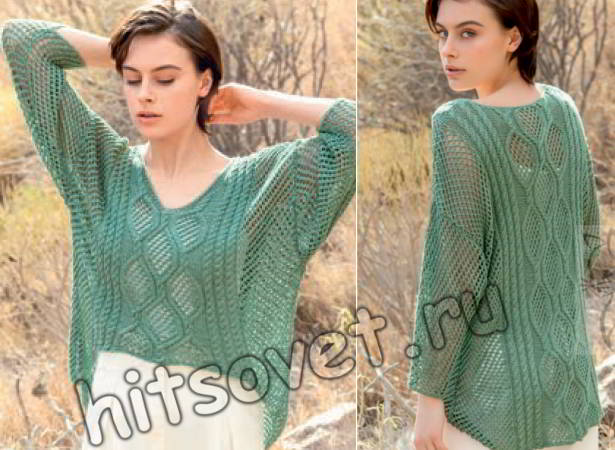 Сетчатый свободный пуловер с косами, фото.