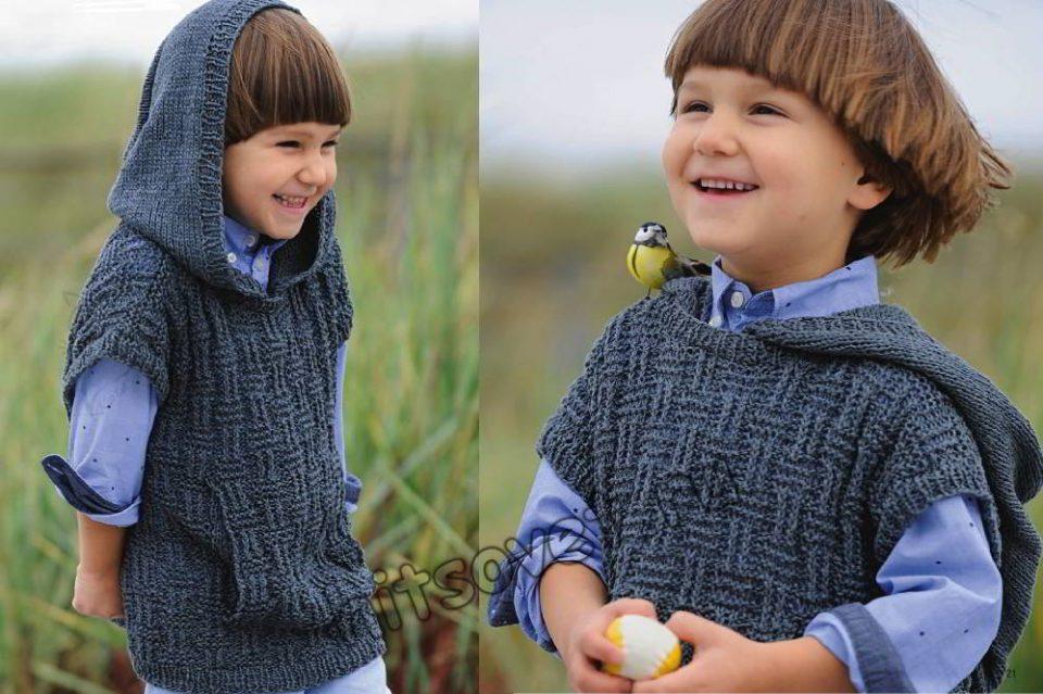 Вязаный жилет с капюшоном для мальчика, фото.