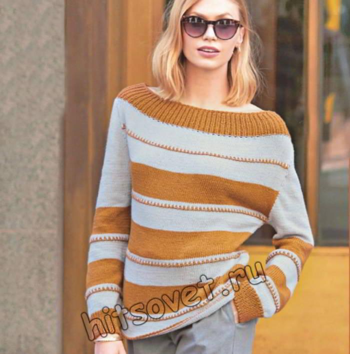 Летний двухцветный пуловер в полоску
