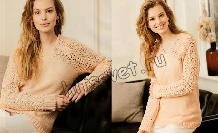 Модный пуловер с ажурными рукавами спицами, фото.