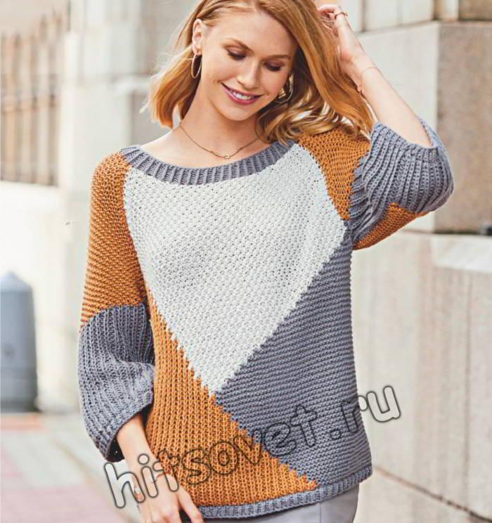Модный пуловер с графическим рисунком, фото.