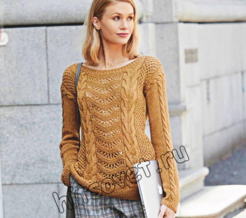 Модный узорчатый пуловер спицами, фото.
