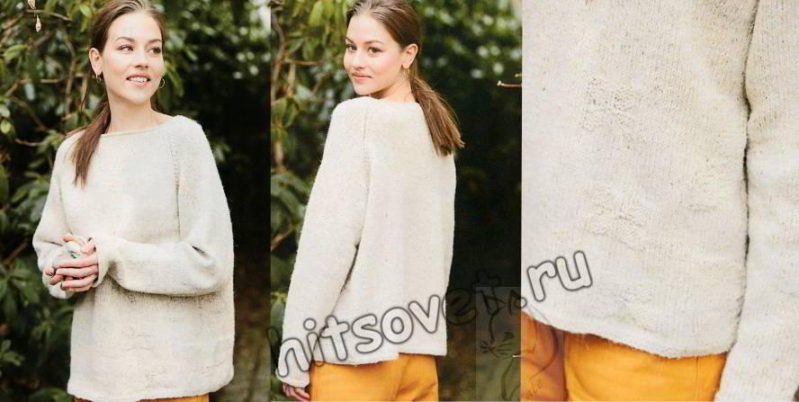 Свободный пуловер реглан с цветочными мотивами, фото.