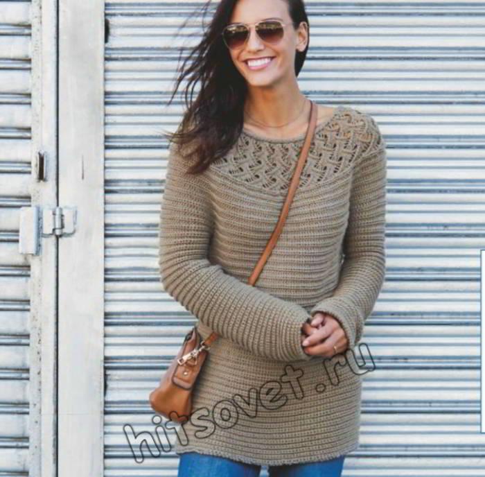 Вязание пуловера поперек с круглой кокеткой, фото.