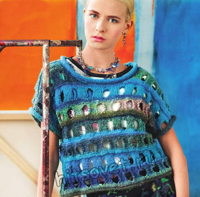 Вязание с дырками модного топа, фото.