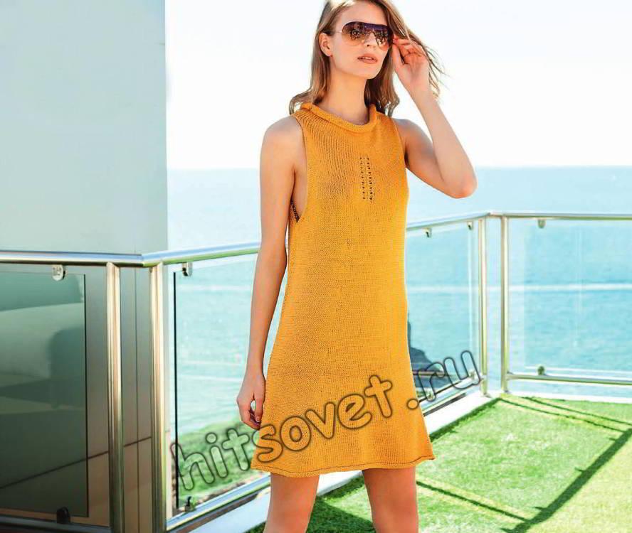 Вязаное платье из шелка и хлопка, фото.
