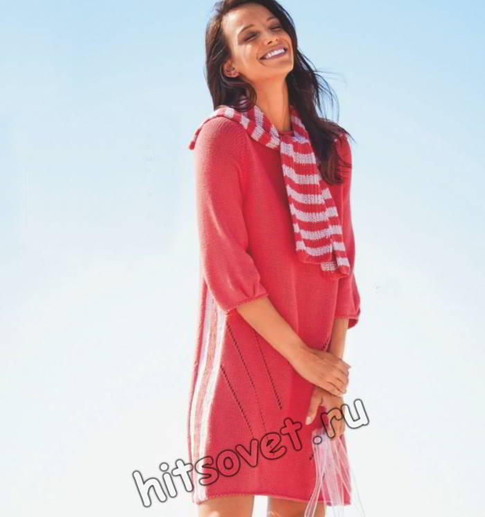 Вязаное платье с воротником шарфом, фото.
