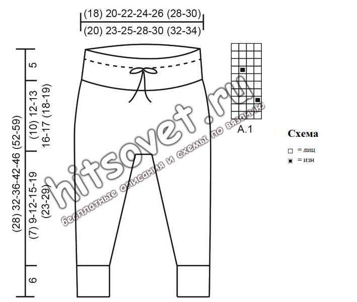 Вязаные штанишки и шапочка для малышей, схема.