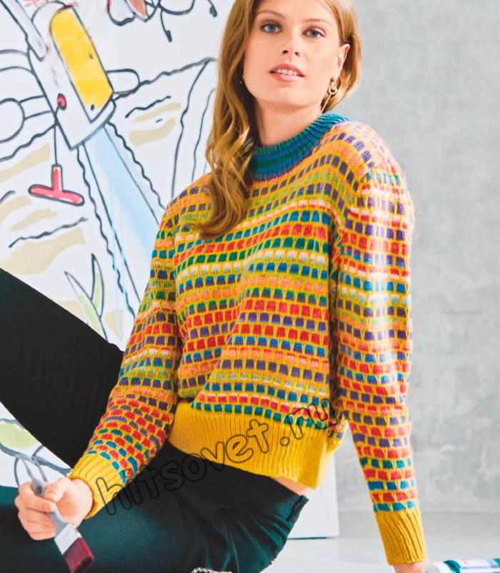 Цветной короткий свитер для девушки, фото.