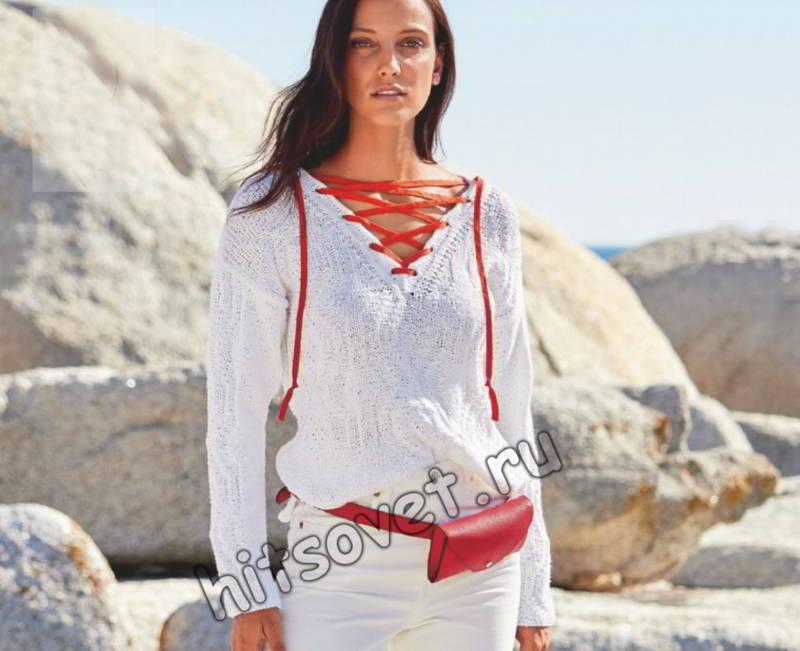 Модный белый джемпер со шнуровкой, фото.
