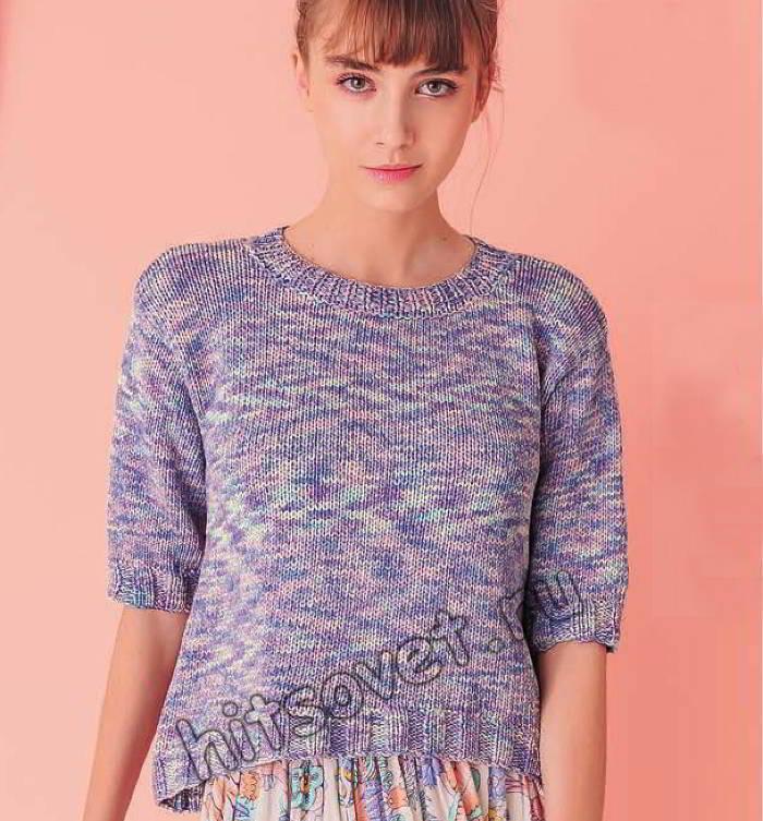 Модный меланжевый пуловер из хлопка, фото.