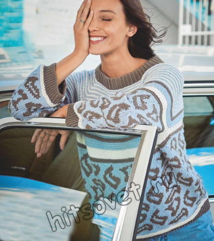 Модный пуловер реглан с жаккардовым узором, фото.