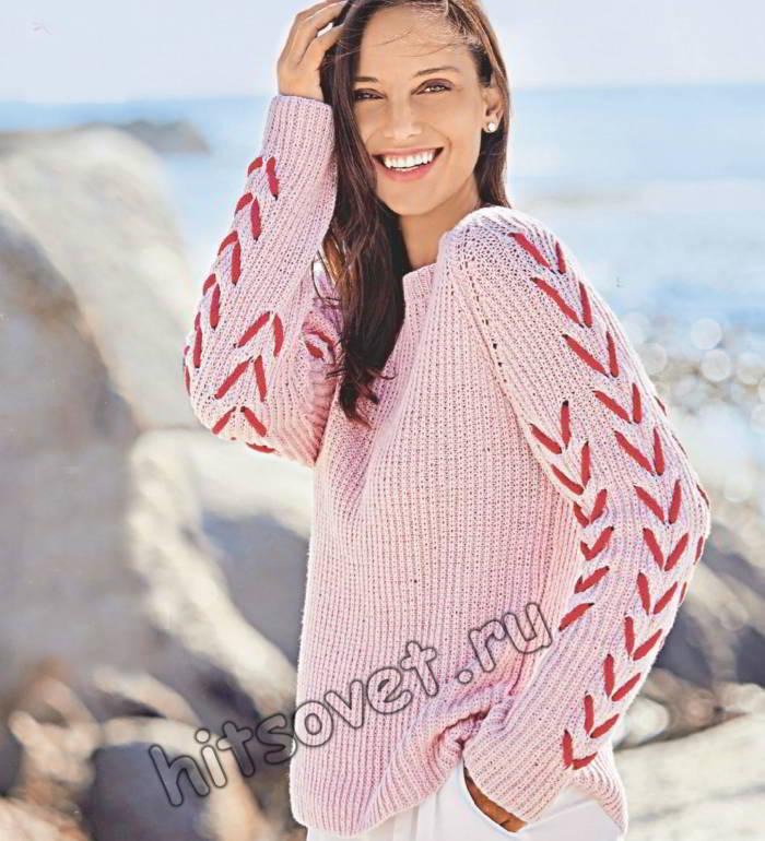 Пуловер реглан со шнуровкой на рукавах, фото.