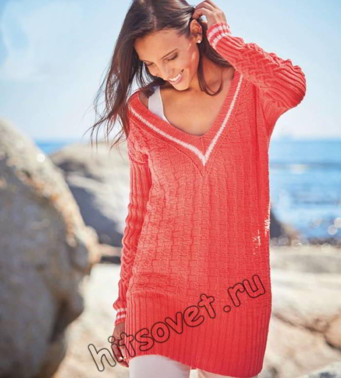 Удлиненный женский пуловер с V-образным вырезом, фото.