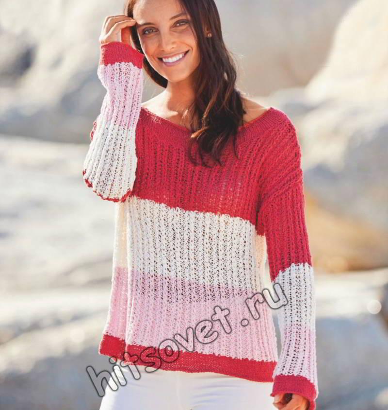 Вязание пуловера с широкими цветными полосами, фото.