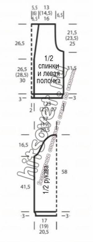 Вязаный жакет с патентными полосами на рукавах, выкройка.
