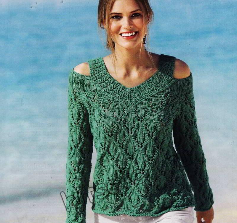 Ажурный пуловер из хлопка с приоткрытыми плечами, фото 1.