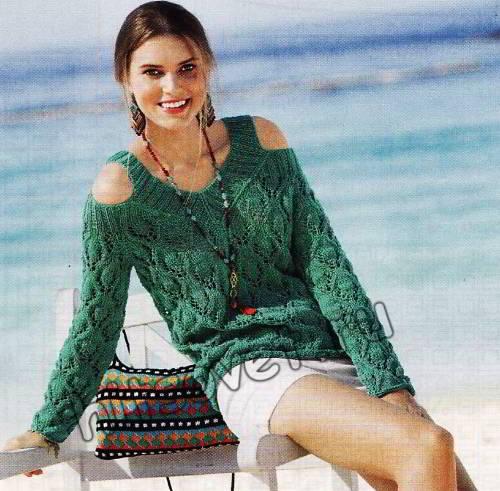 Ажурный пуловер из хлопка с приоткрытыми плечами, фото 2.