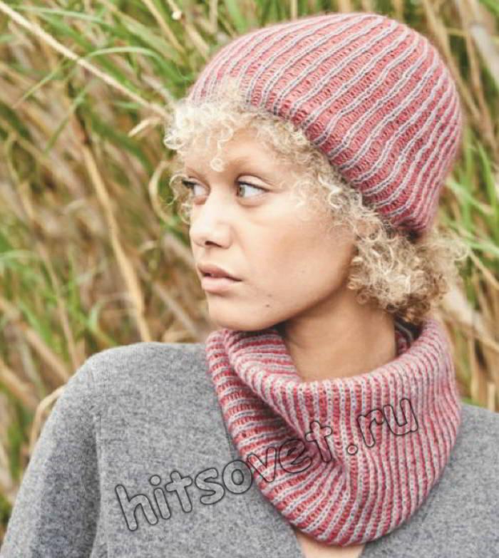 Модная шапка и снуд двухцветным патентным узором, фото.