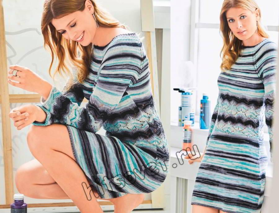 Модное вязаное платье для девушки, фото.