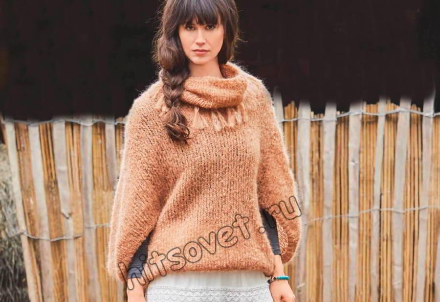 Модный мохеровый пуловер и снуд спицами, фото.