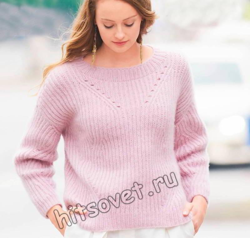 Модный пуловер резинкой схема и описание, фото.