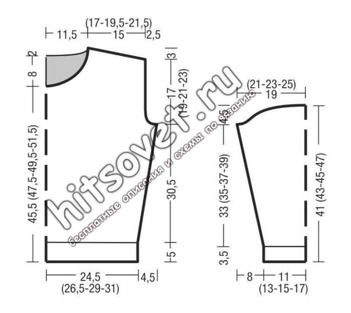 Модный пуловер резинкой схема и описание, выкройка.