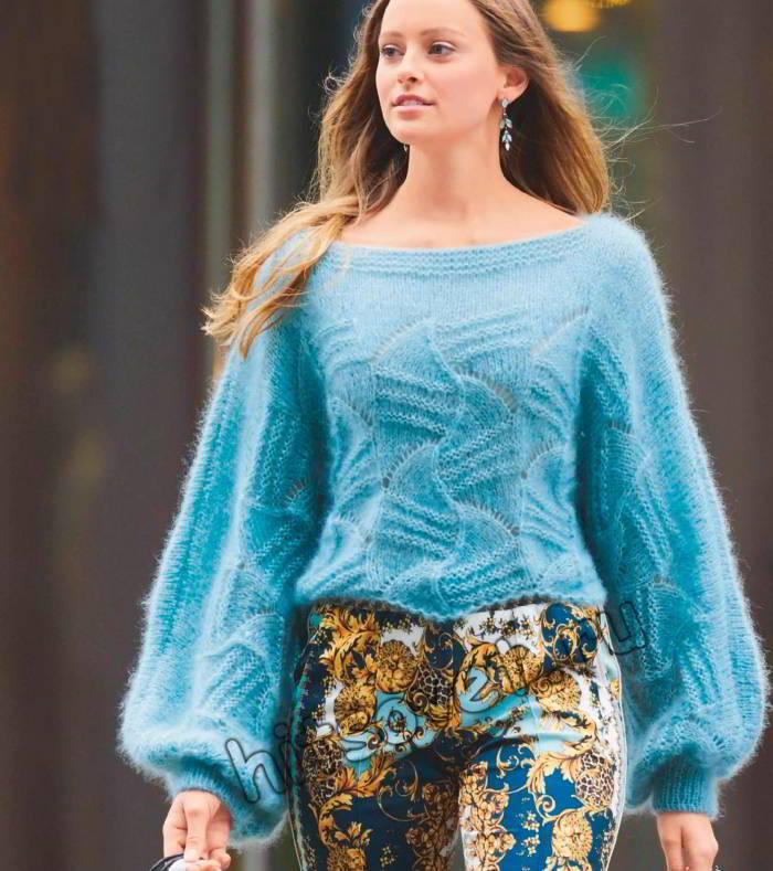 Мохеровый ажурный пуловер с широкими рукавами, фото.
