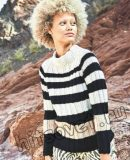 Полосатый черно-белый пуловер реглан