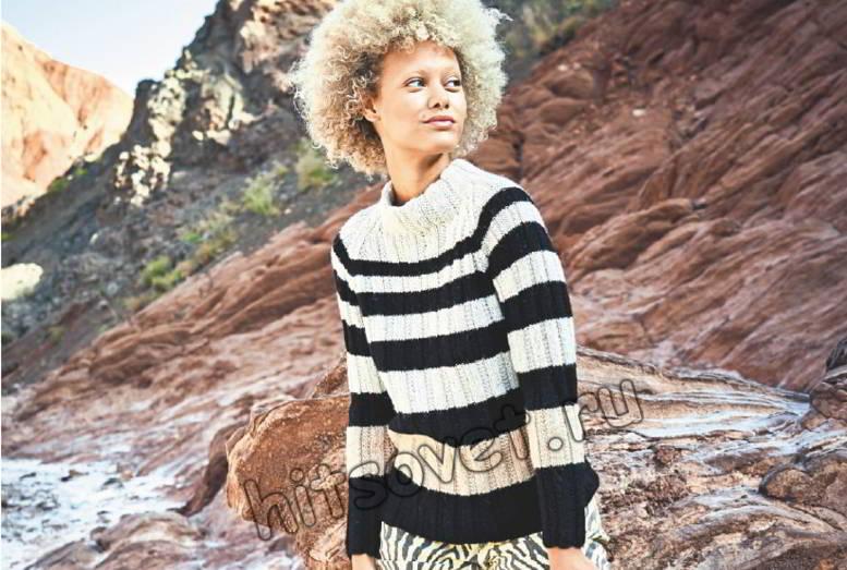 Полосатый черно-белый пуловер реглан, фото.