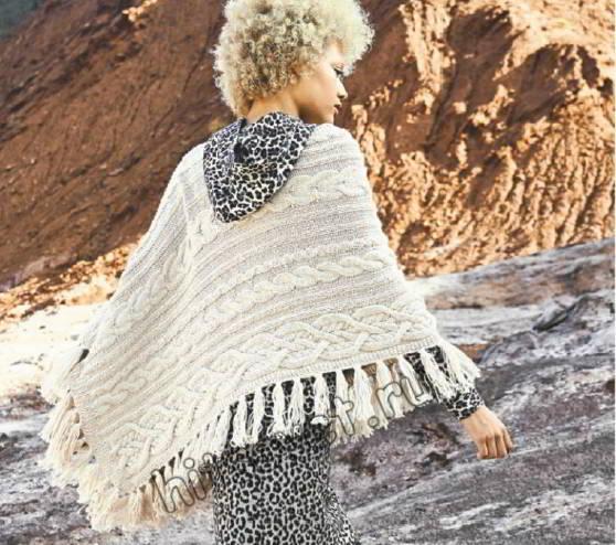 Прямоугольная шаль с косами, фото.