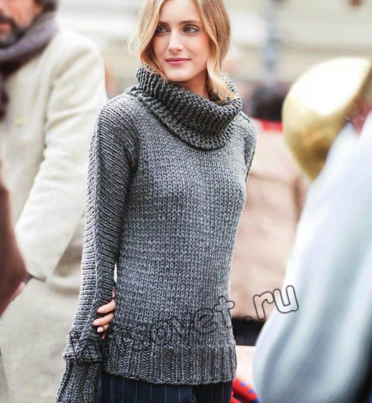 Серый модный пуловер и снуд, фото.
