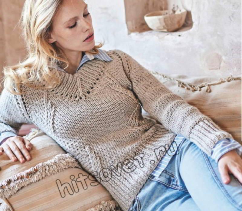 Стильный пуловер реглан изнаночной гладью, фото.
