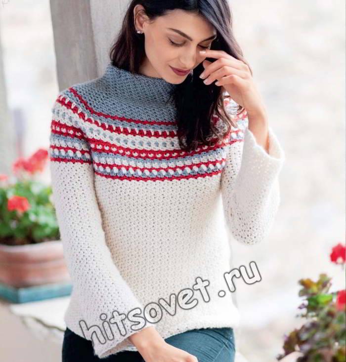 Стильный свитер крючком, фото 1.