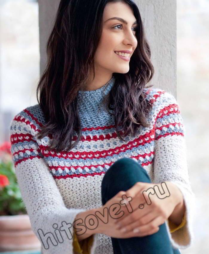 Стильный свитер крючком, фото 2.