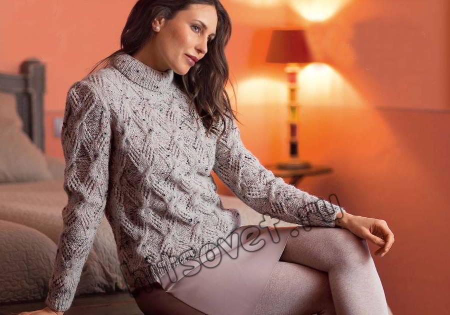 Твидовый свитер с косами, фото.