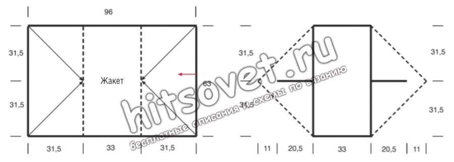 Вязание жакета прямоугольником, выкройка.